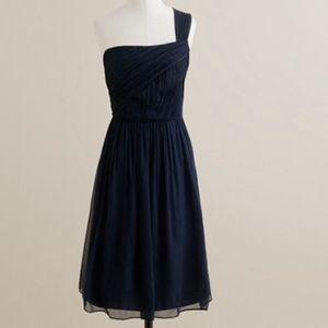 🔹J. Crew Navy Lucienne Silk Chiffon Dress