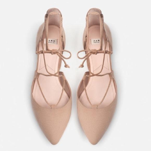 NWT Zara nude lace up flats