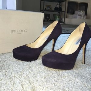 Jimmy Choo Cosmic suede purple platform pump