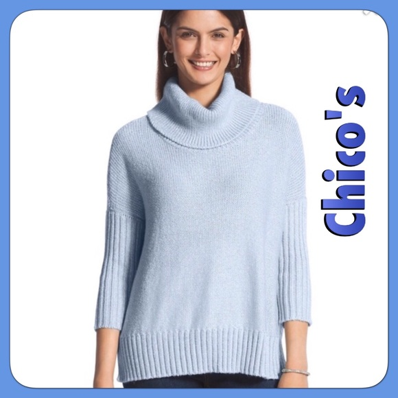 74% off Chico's Sweaters - NWT Chico's Light Blue Cowl Neck ...
