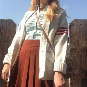 Sweaters - Vintage White Varsity Sweater with Red Stripes