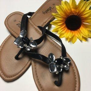 Vanity Shoes - Gorgeous Crystal Gem Thong Flip Flops 🌻