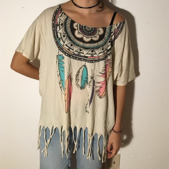 Cool Navajo Feathers And Dream Catcher Tshirt