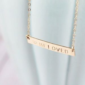 RESERVED // Plain Gold Bar Necklace 16""