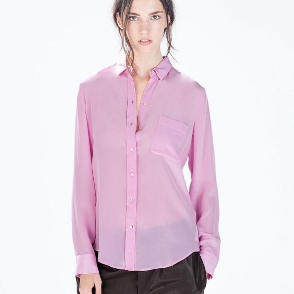 e7de8588a5ee83 Sheer Lilac Silk Blouse