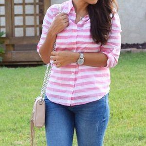 Express Tops - Express Pink White Striped Button Down Shirt