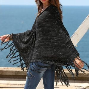 Boutique Jackets & Blazers - Tassel Hem Sweater Cape. Price firm.