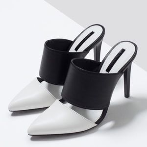 Zara Shoes - Zara Black & White Pointed Toe Mules-Euro 40