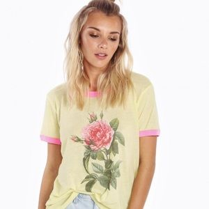 WILDFOX Pretty Pink Floral Vintage Ringer Tee-Med