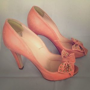 Red Valentino pink leather peep toe pumps with bow