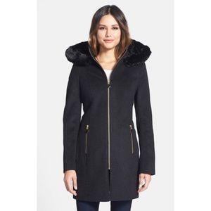 T Tahari Jackets & Blazers - T Tahari 'Kaili' Faux Fur Trim Wool Blend Coat