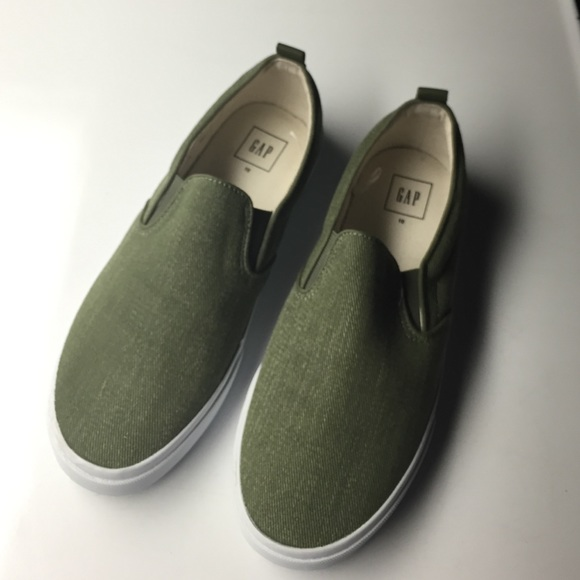 womens olive green slip on sneakers