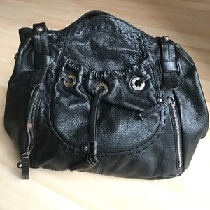 B Makowsky Handbags - Black leather purse with silver details