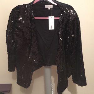 Jackets & Blazers - Draped front sequin cardigan 3/4 sleeve