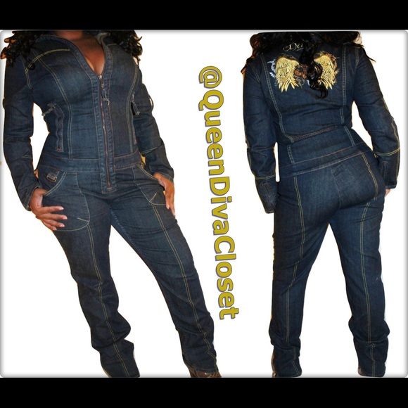 3d37f1088ec9 Dereon Pants - Dark denim Jean long sleeve moto jumpsuit romper