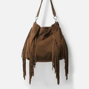 Zara fringed leather bucket bag (4012)