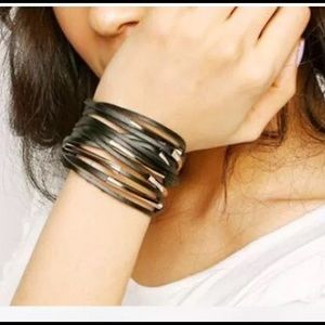 Faux Leather and Silver Adjustable Cuff Bracelet