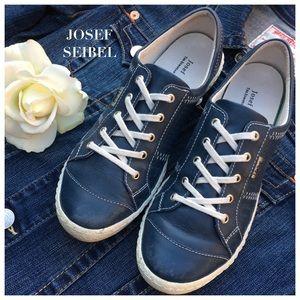 Josef Seibel Shoes - JOSEF SEIBEL BLUE DENIM CASPIAN LEATHER SNEAKER