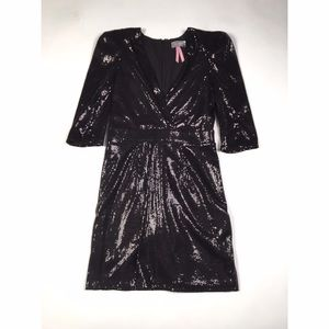 3/4 Sleeve Black Sequin Mini Dress