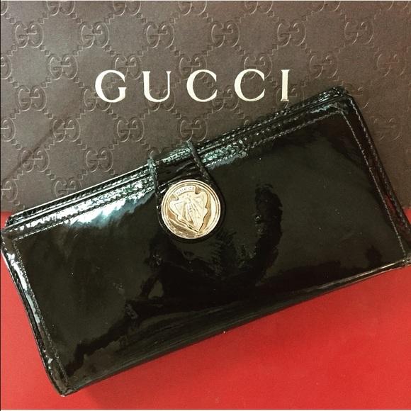 50eb852b21da Gucci Bags | Black Patent Leather Wallet | Poshmark