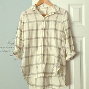 Tops - Cream and Navy Stripe Button Down Flannel Shirt
