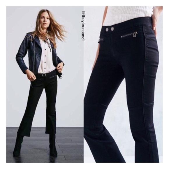 c2dfe7bdc39 Urban Outfitters Black Moto Crop Kick Flare Jean