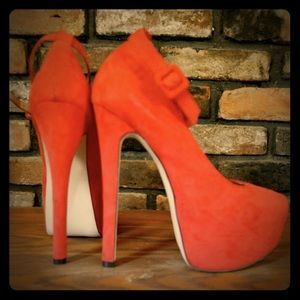 Bright red suede stilettos/ heels with platform!