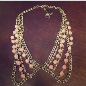 Dusty rose and gold Peter Pan collar necklace
