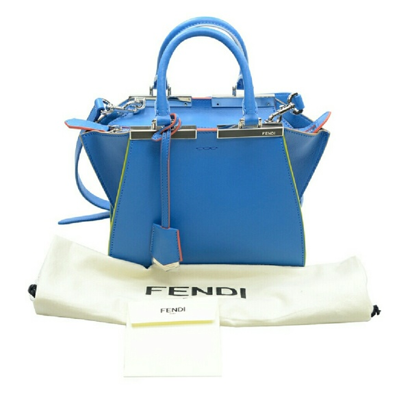 6c33c00aa856 NWT Fendi 3 Jours Mini Blue Leather Shopper