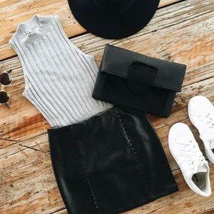 SALE // 3️⃣ LRG // Black Out Vegan Leather Skirt