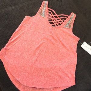 love on a hanger Tops - Love on a hanger beaded tank XS pink