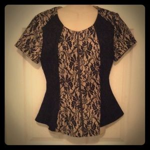 Sugarlips Tops - Black & nude lace peplum top