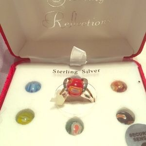 Sterling silver ring with interchangeable stones