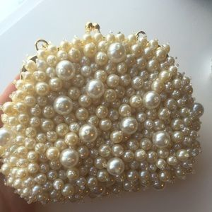 Pearl beaded mini hand bag
