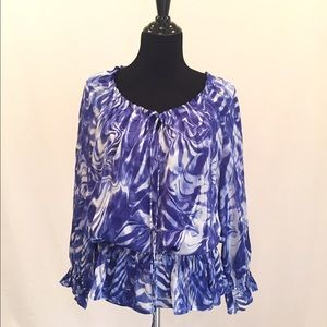 Cynthia Steffe Tops - Blue And White Peasant Top