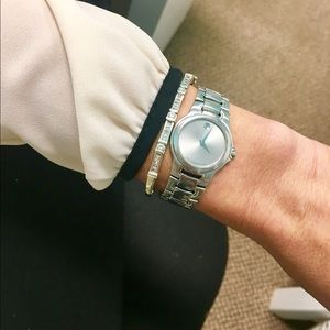Ladies Auth Swiss Movado Stainless Steel Watch