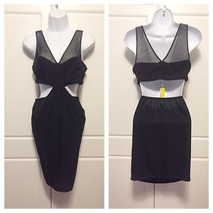 Catherine Malandrino Dresses & Skirts - Catherine Malandrino Black Mesh Top Cutout Dress