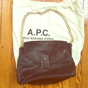 A.P.C. Handbags - A.P.C. Brown leather handbag with gold chain