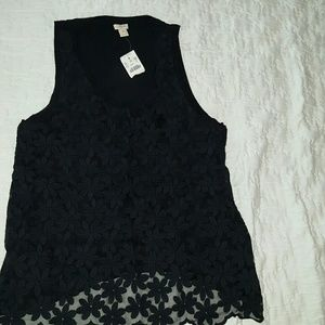 NWT J crew flower lace-front tank top