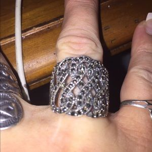 Jewelry - Solid Sterling Silver and Marcasite Ring Sz 7.5