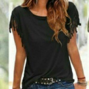 Tops - FrinGed SleeVe BlacK ShiRt- NWOT