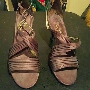 Nina Brown High Heel Satin Shoes