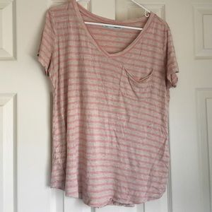 Pink striped slouchy pocket tee