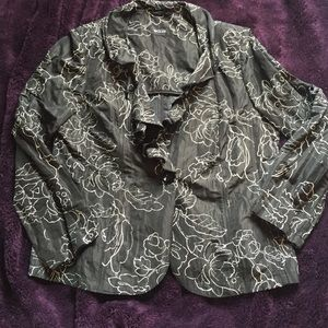 Basler Jackets & Blazers - Basler black ruffled blazer, 12/14
