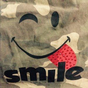Handbags - Teen messenger bag army/smile face. Worn 3 times.
