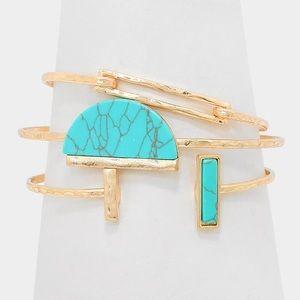 Geometric Howlite Stone Stack Bracelet