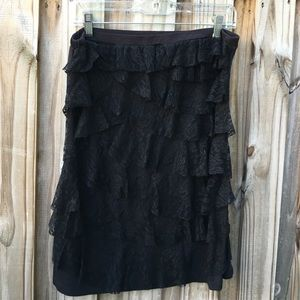80's vintage black lace rayon skirt. XL.