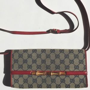 Gucci Handbags - Gucci Monogram Bamboo Clutch & Purse