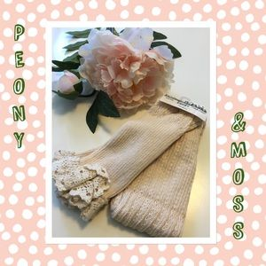 Peony and Moss Accessories - NWT Peony & Moss white lace leg warmer