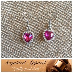 Acquitted Apparel Jewelry - Crystal silver Heart Earrings